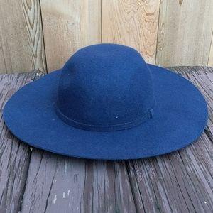 Dark Blue 100% Wool Wide Brim Winter & Fall Hat